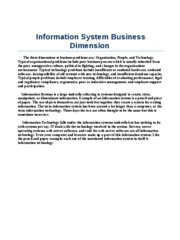 Information System Business Dimension