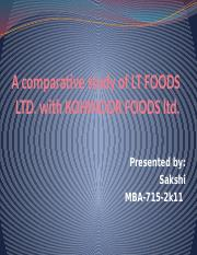 A comparative study of LT FOODS LTD