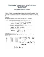 FINA 6305 Midterm Mock Questions (Solution).docx