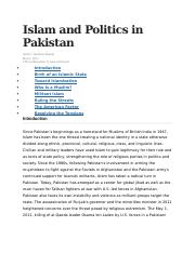 Islam and Politics in Pakistan.docx