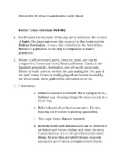 ENGLISH 285 Final Exam Review Guide Sheet