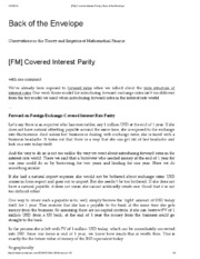 [FM] Covered Interest Parity _ Back of the Envelope