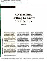 co-teaching. getting to know your partner