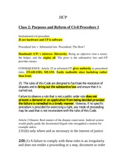 Class Notes for Judicial Institutions and Civil Procedure