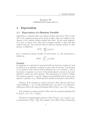 Lecture 10 - Expectation of a Random Variable