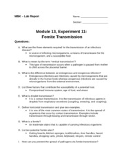 """experiment 11 fomite transmission essay Access """"experiment 11: fomite transmission"""" be sure to read the entire experiment and organize time order a similar essay written from scratch."""