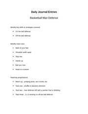 basketball man defense fast break journal