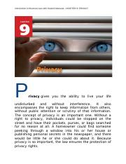 Introduction to Business Law with Student Manaual  CHAPTER 9 PRIVACY.docx