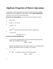 Algebraic Properties of Matrix Operations