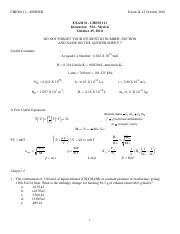 CHEM111 Fall 2010 Exam 2 (Practice)