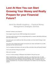 Lost At How You can Start Growing Your Money and Really Prepare for your Financial Future