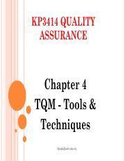 KP3414 QA - Chapter 4 TQM Tools & Techniques