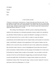 AP English Literature and Composition Macbeth and Sound and Fury Essay