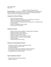 The Research Design Overview Class Notes