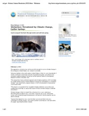 Wolverines threatened by climate change