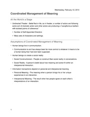 Coordinated Management of Meaning Notes