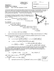 Kinematics Assignment + Solutions