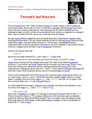 the history of fermats last theorem essay Fermat's last theorem, therefore, is a misnomer: it should more appropriately be referred to as fermat's last conjecture in 1670, five years the last supper – research essay the last supper is a religious scene in the catholic bible, which tells the story of the last meal the night before the crucifixion of jesus christ.