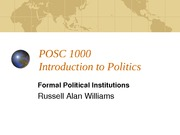 POSC 1000 Formal Institutions - Presidential Systems