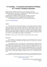 Geissler Hasenbein Kanatour Wegener -2014- E Coaching _ Conceptual and Empiricalt findings of a Virt