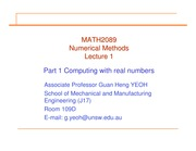 Lecture Week 1 Numerical Methods
