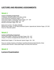 ANAT 1615 Lecture and Reading Assignments