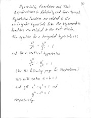 Hyperbolic Functions, Relativity and Space Travel