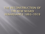 The Reconstruction of the New Negro Renaissance 1865-1919 F12 ONLINE