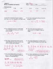 Review - Probability and Statistics- Answers