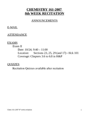 #Chem 161-2007 recitation 8th week
