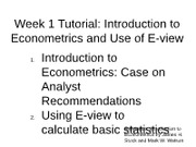 Week 1 Introduction to Econometrics