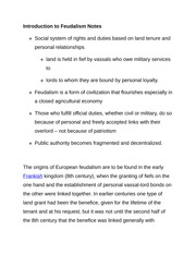 Introduction to Feudalism Notes