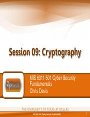 MIS 6311-501 Session 09 - Cryptography