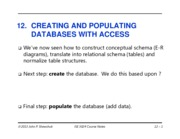 Lecture 12-Creating ad Populating Access with Data