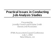 Practical Issues in Conducting Job Analysis