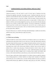 Traditional Medicine Essay - Cummins 1 Kayla Cummins Fr HON