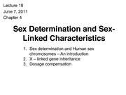 Lecture 18 - sex determination and sex linked characteristics