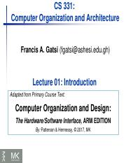Chapter 01 C160f73be2e7ab9c1372b10f37c830f6 Pdf Cs 331 Computer Organization And Architecture Francis A Gatsi Fgatsi Ashesi Edu Gh Lecture 01 Course Hero