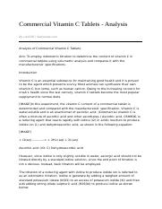 analysis of commercial vitamin c tablets Analysis of calcium carbonate tablets commercial tablets read the procedure and data analysis sections of this experiment 2.