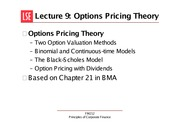 Lect. 9 opts price theory.FM212 MT 2014m-9