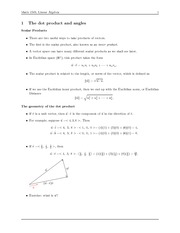 Math 1503 Dot Product Notes
