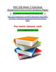 RES 728 Week 7 Individual Assignment Document Analysis Paper.doc