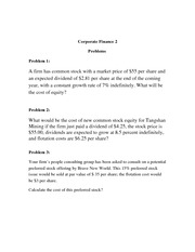 Corporate Finance 2- Lecture problem
