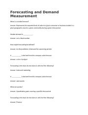 Forecasting and Demand Measurement Questions.docx