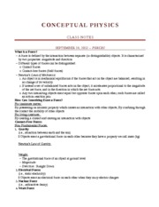 PHYSICS 1021 - Fall Lectures