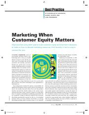 When Customer Equity Matters