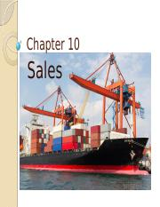 Chapter 10 - Sales