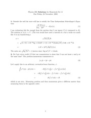 Phys 200 Time Independent Schrodingers Equations Homework Solutions