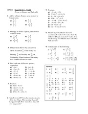 Exam Review- Focus on Integers and Rationals