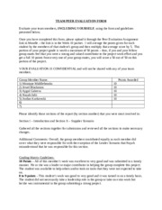 FIN 506 TEAM PEER EVALUATION FORM Winter 2015